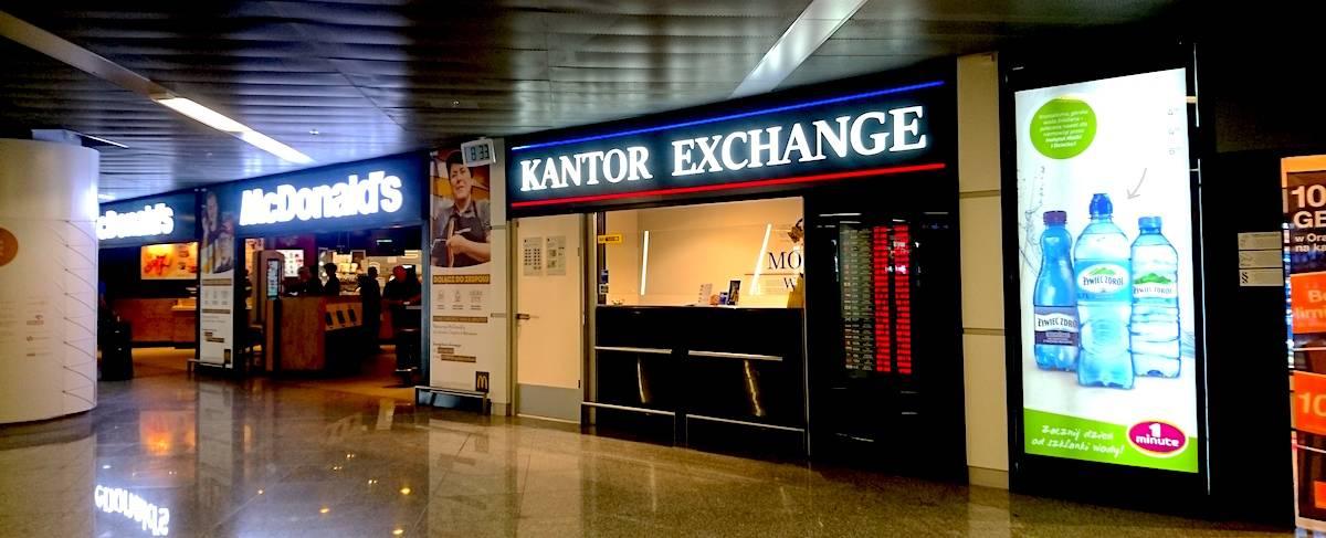 Kantor Exchange beside McDonald's @ Warsaw Chopin Airport, Poland