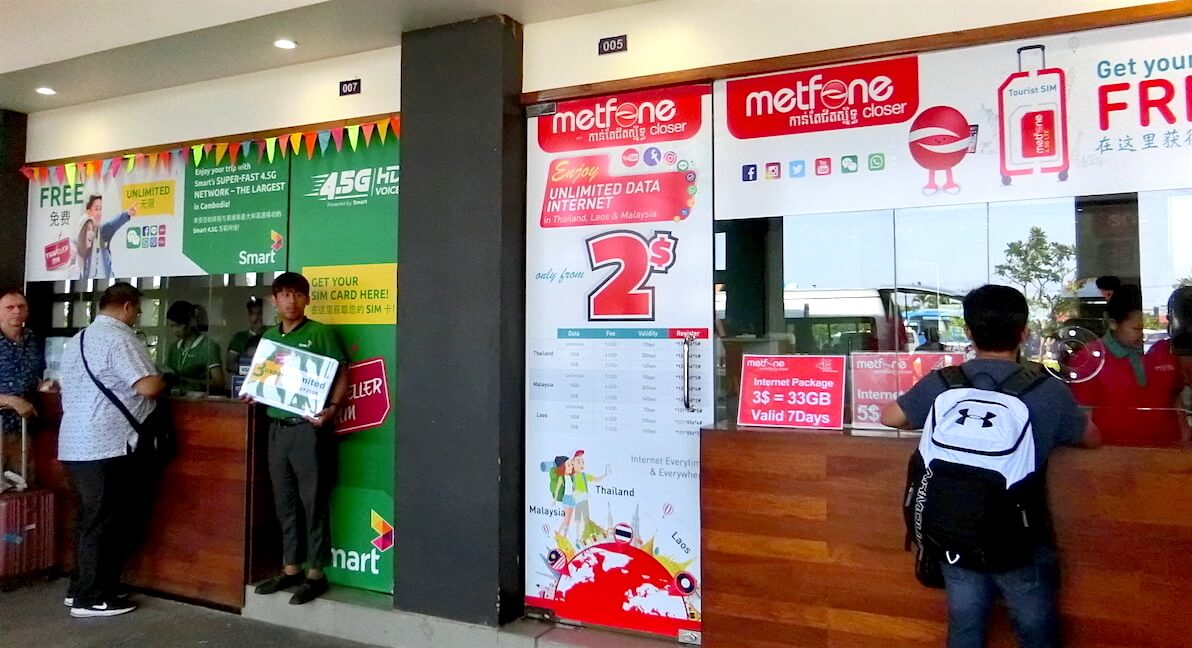 Smart Axiata and Metfone Shops outside Siem Reap Airport