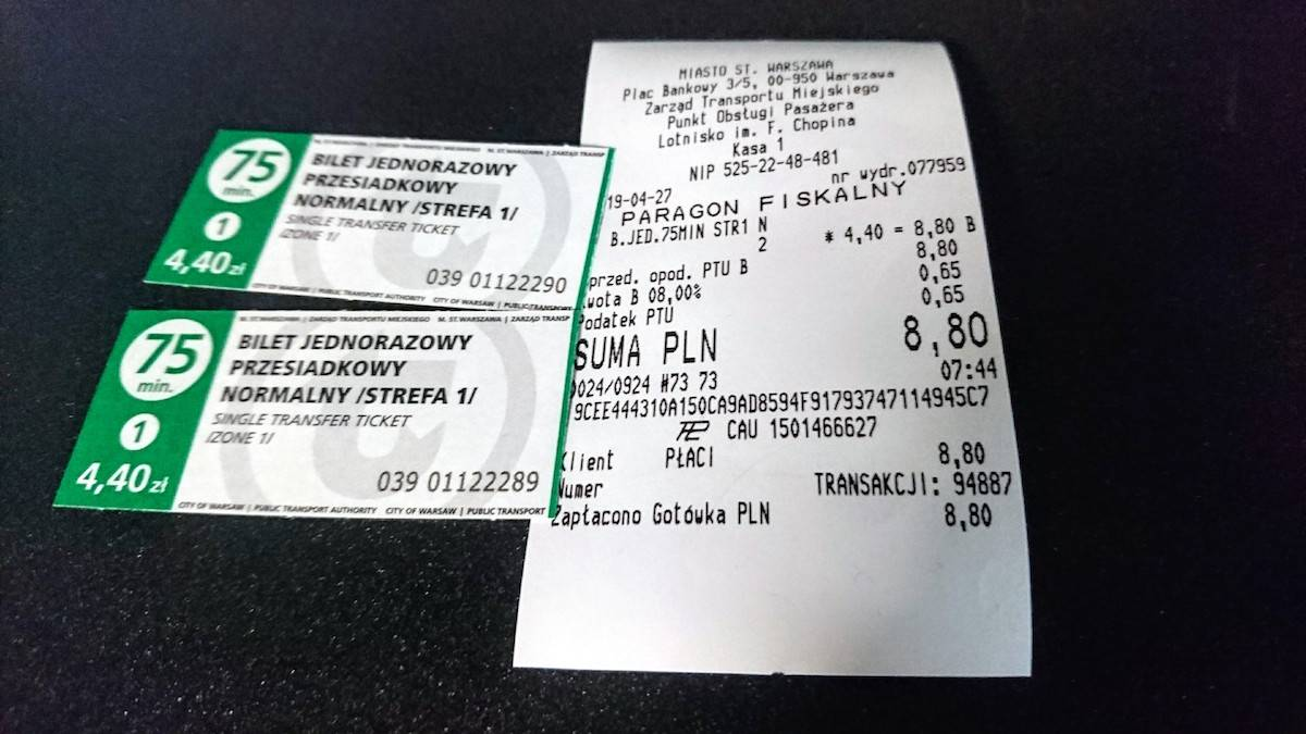 Train and Bus Tickets bought from ZTM Public Transport Service Point