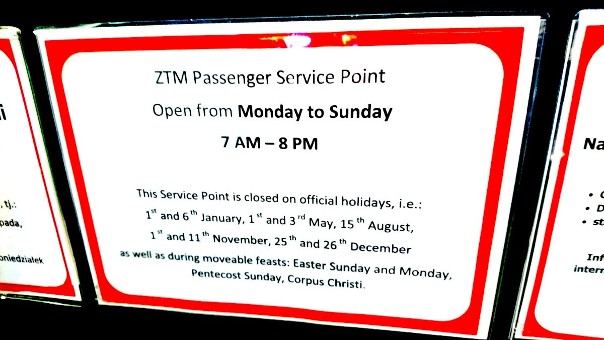 ZTM Passenger Service Point Operating Hours
