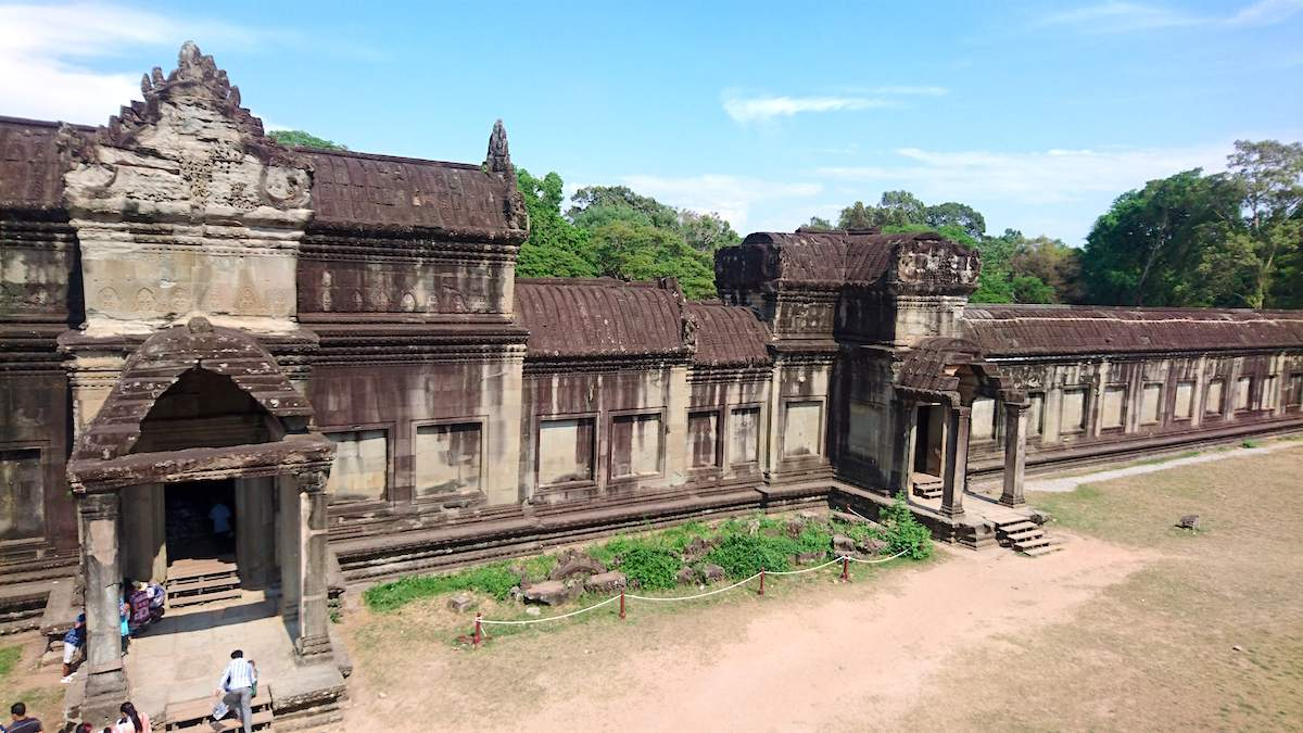 Angkor Wat Entrance seen from Outer Gallery of Angkor Wat