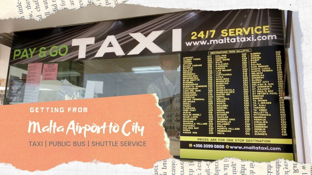 Malta Airport to City Centre Valletta, Sliema: Taxi Price & Bus Fares Guide
