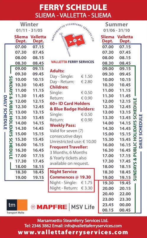 Sliema Valletta Ferry Schedule and Price