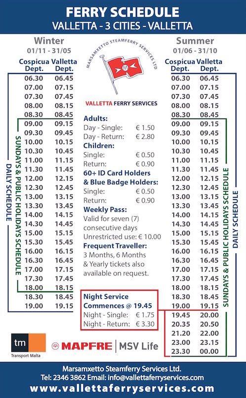Valletta Three Cities Ferry Schedule and Price