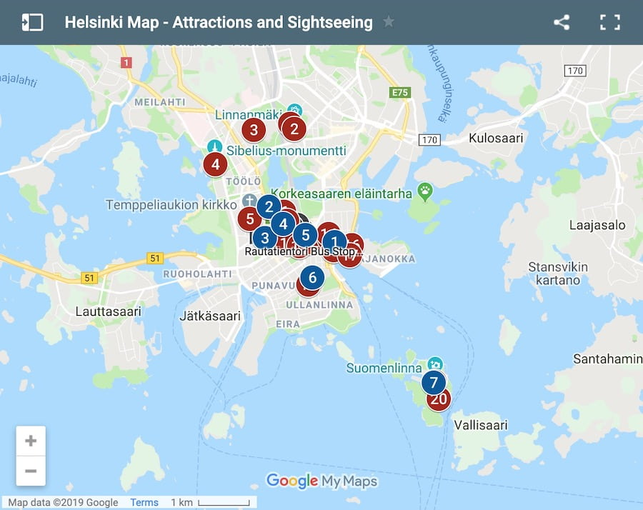 Google Maps: Places of Interest in Helsink,i Finland