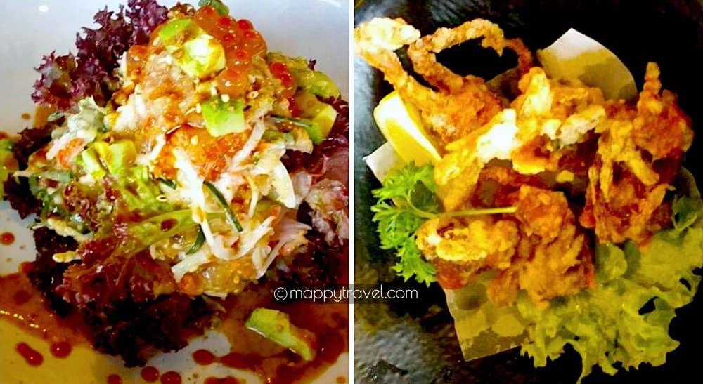 Sake Kawa Salad | Soft Shell Crab Tempura