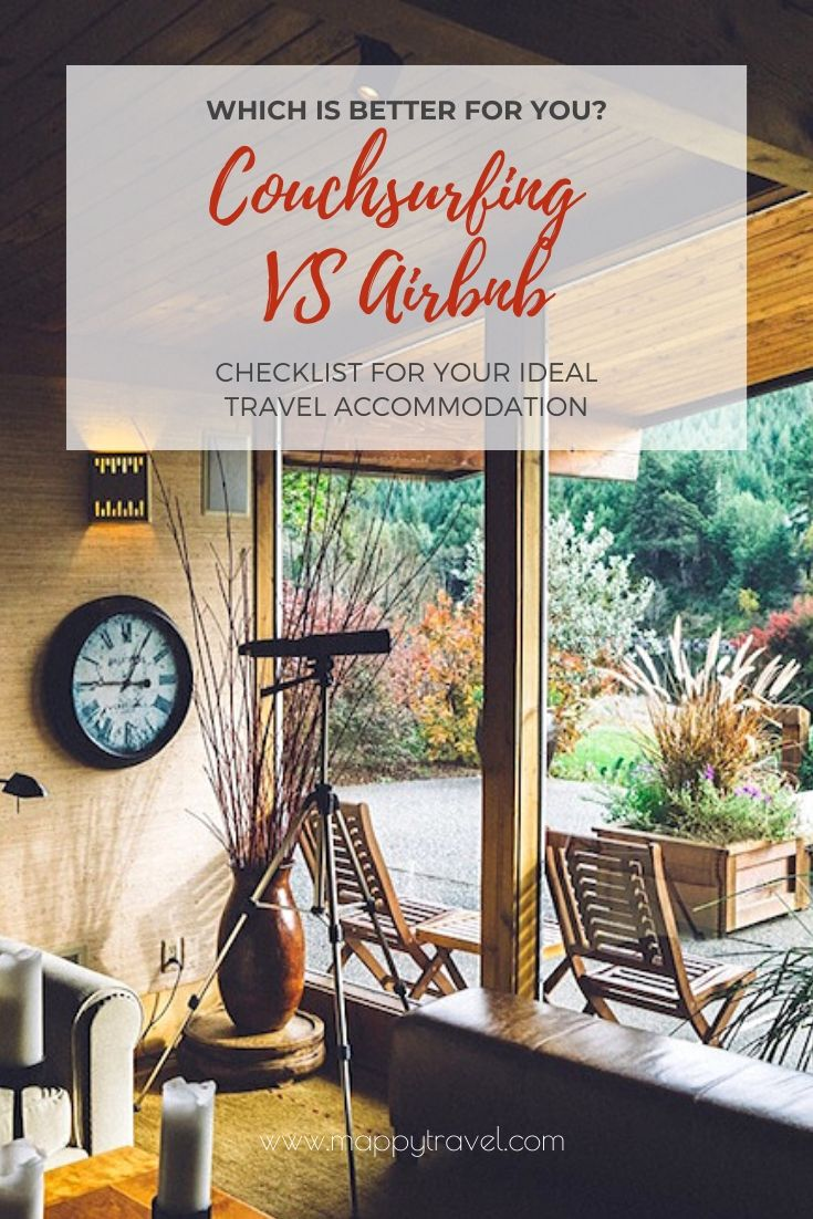 Couchsurfing vs Airbnb: 10 Checklist to Your Ideal Travel Accommodation (Pinterest)